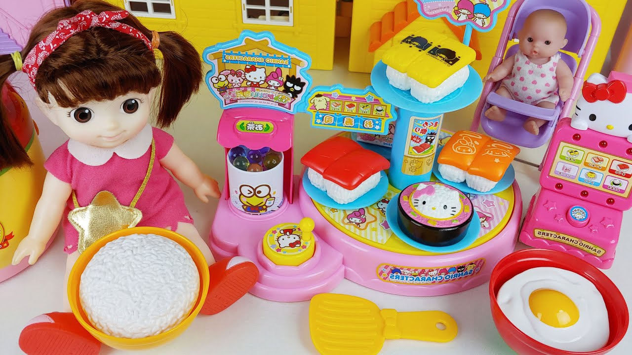 Baby doll Sushi dish shop and food cooking toys play house story - ToyMong TV 토이몽