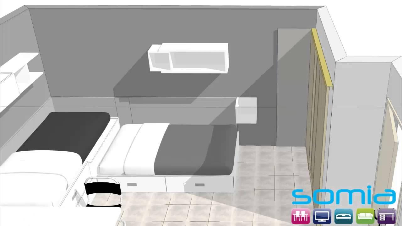 Dormitorio juvenil valencia 2 camas dise o 3d combinado - Como pintar dormitorio juvenil ...