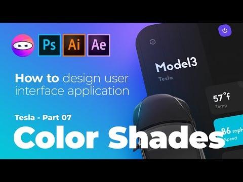 Tesla mobile app ux design speed art tutorial, colors, shades graphic design. thumbnail