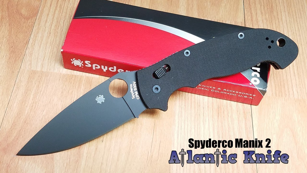 SPYDERCO MANIX 2 XL BALL BEARING LOCK BLACK DLC FOLDING BLADE KNIFE 95GPBBK2