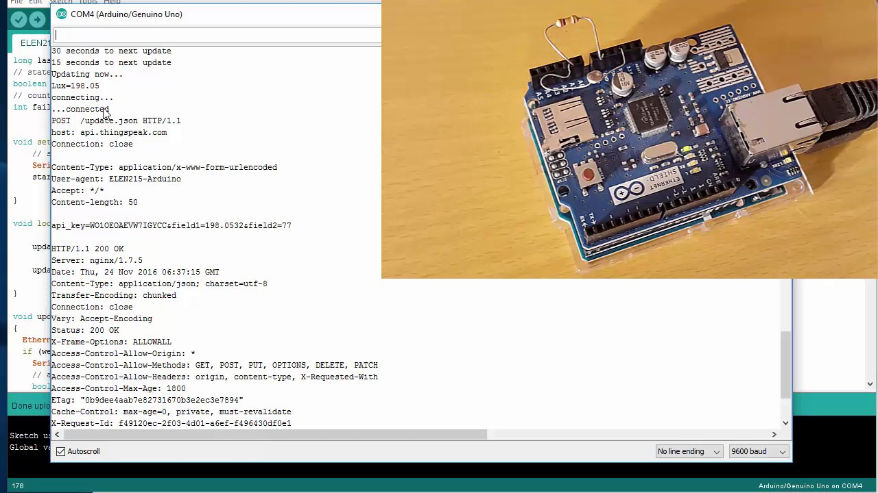 Sending Light Sensor Data from Arduino to Thingspeak