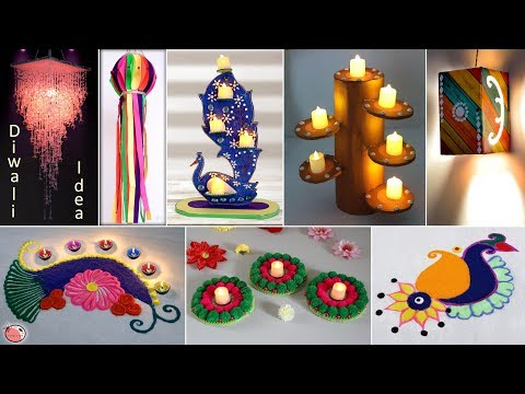 12 Diwali Decoration Ideas !!! Home Decor Craft || Wall Hanging, Rangoli, Diya Stand, Night Lamp