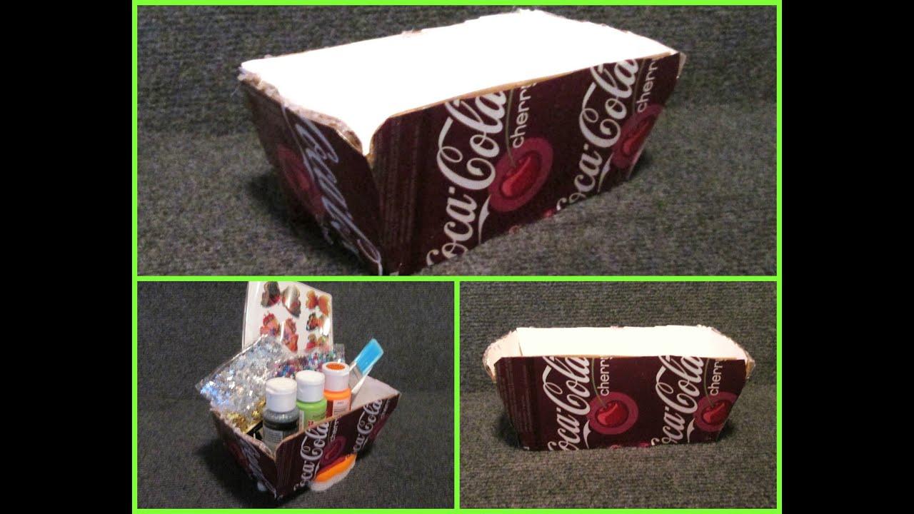 Como hacer una caja decorado con latas de soda gaceosa - Como forrar una caja con tela ...
