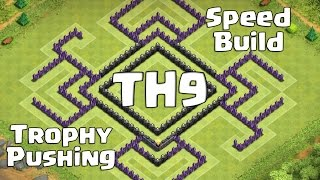 "Clash Of Clans - Th9 Speedbuild, Trophy Pushing Base ""the Castle"""