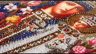 Вышивка жемчугом, камнями и бисером иконы