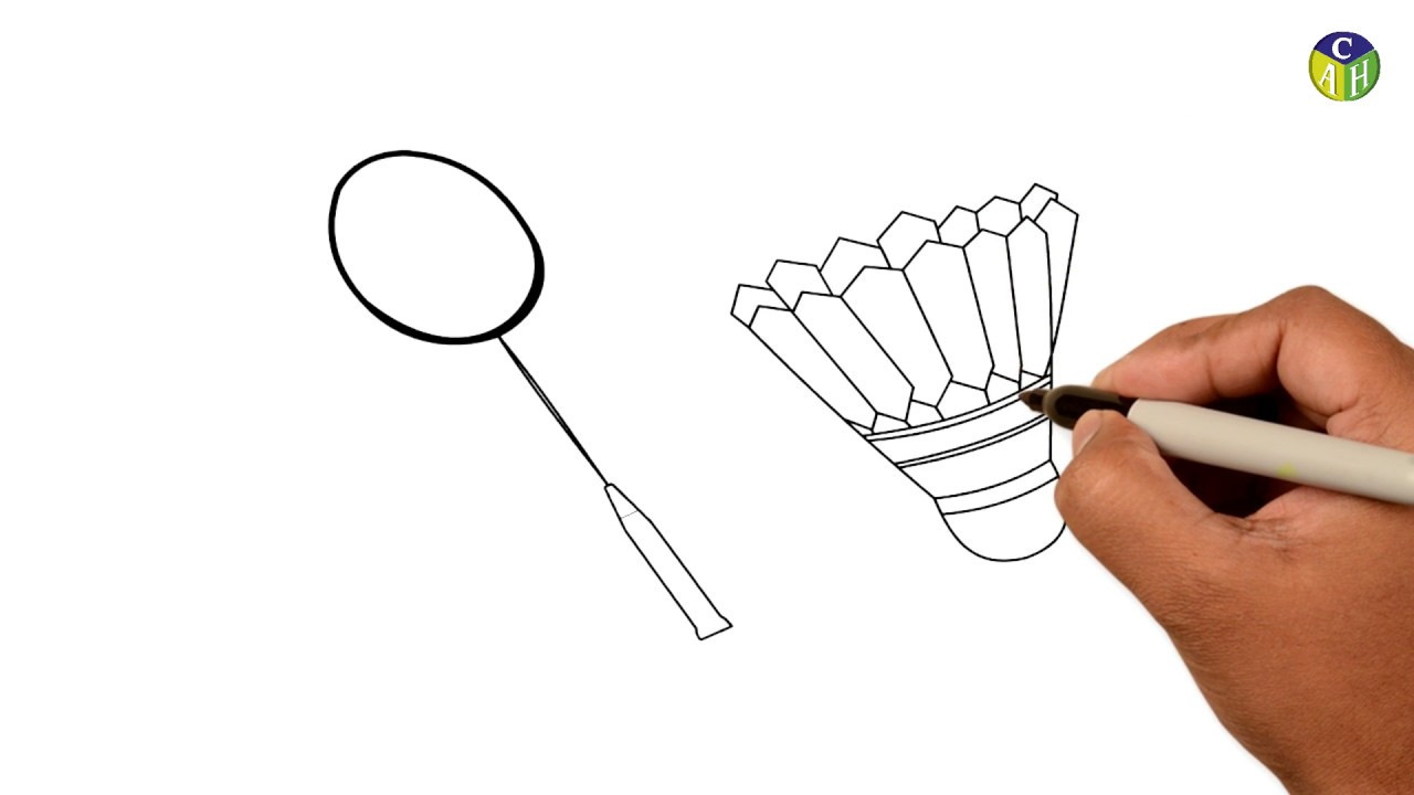 How To Draw Badminton Racket And Shuttlecock Coloring Pages Of