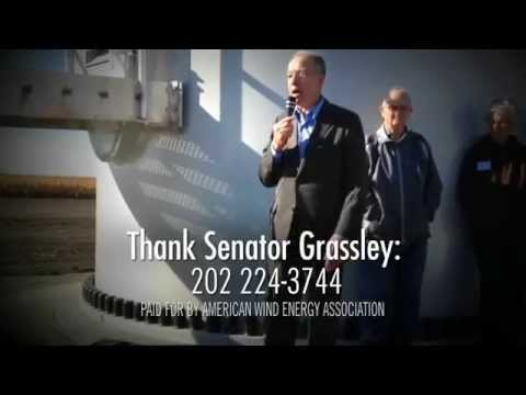 Television ad thanks Iowa Senator Chuck Grassley for supporting American wind power