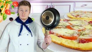 Пицца на сковороде без духовки, обалденная Пицца с Колбасой, готовим ТЕСТО ДЛЯ ПИЦЦЫ