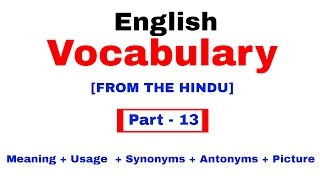 English Vocabulary for Bank po and SSC CGL | In Hindi Part 13