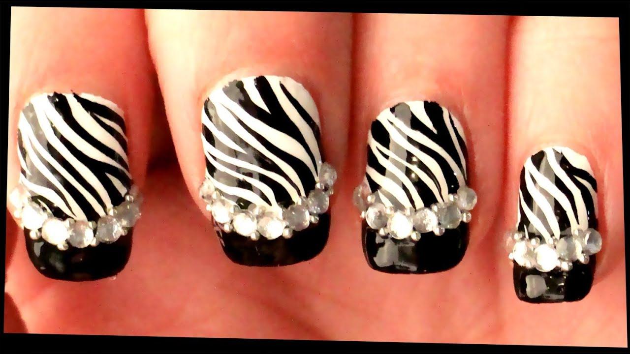 Zebra With Black Tips Rhinestones Nail Art
