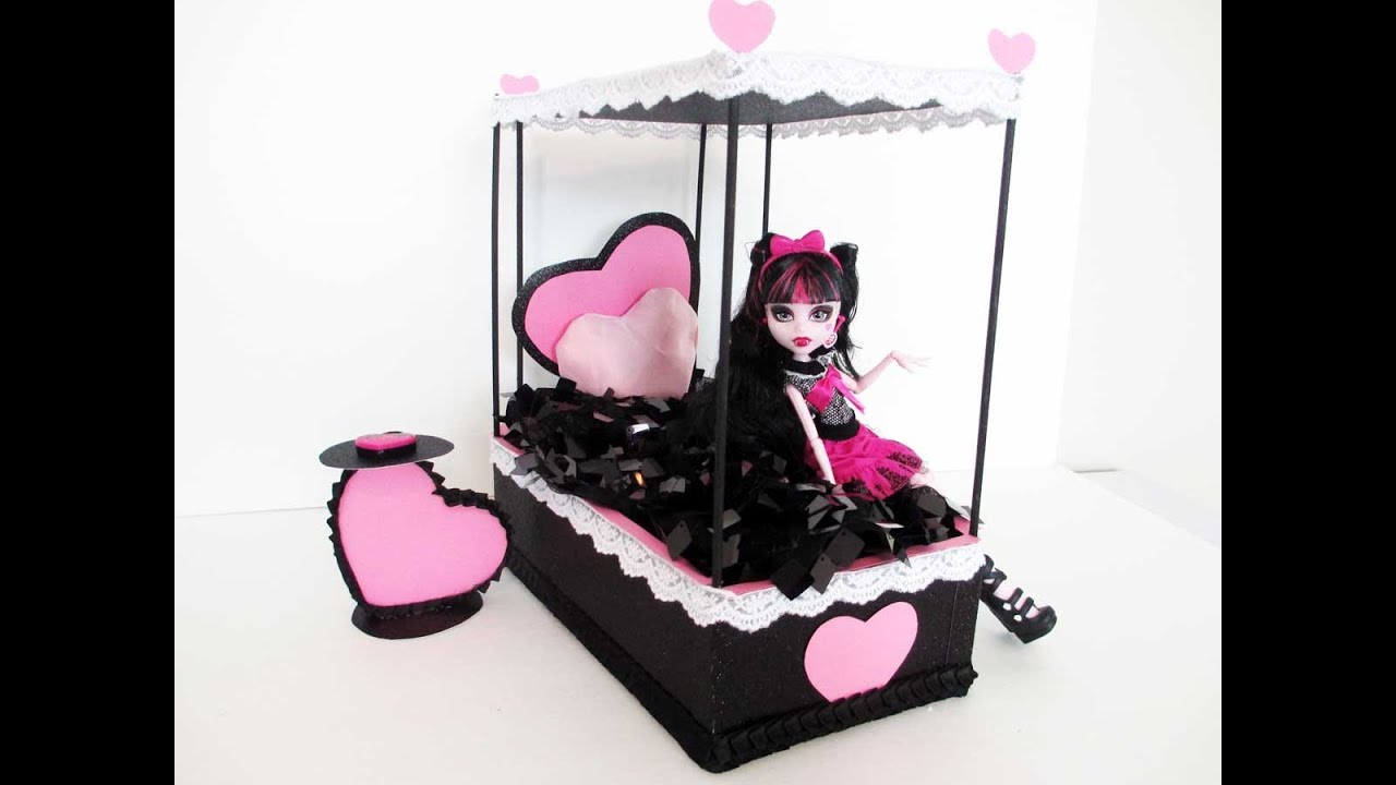 How to make a draculaura doll bed tutorial monster high for How to make a high bed
