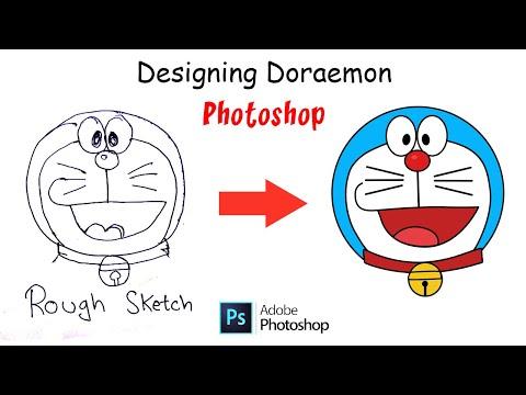 How to Draw Doraemon in Photoshop   Doraemon Artwork   Vector Artwork   Illustration