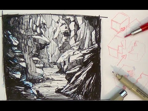 Pen And Ink Drawing Tutorials How To Draw A Valley Gorge