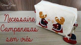 Necessaire sem Viés (Costura Francesa) com Aplicação Camponesas