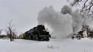 Big Boy #4014 in the cold and snow Hays to Sharon Springs, Kansas 2019