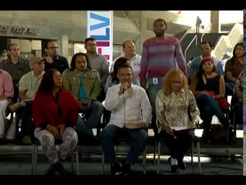 Ministro Ernesto Villegas y cultores venezolanos leen manifiesto contra agresión a Los Guaraguao