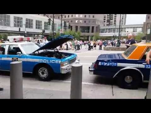 NYPD Antique Patrol Cars Parked By The 9/11 Memorial In Lower Manhattan, New York