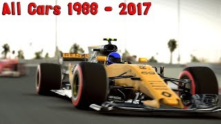 F1 2017 - All Cars Shown 1988-2017 - Gameplay Comparison (PC HD) [1080p60FPS]