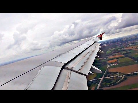 Air Berlin Airbus A321 WING VIEW TAKEOFF from cloudy Munich Airport