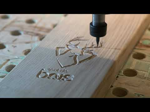 CNC engraving of my friends awesome wood skis !