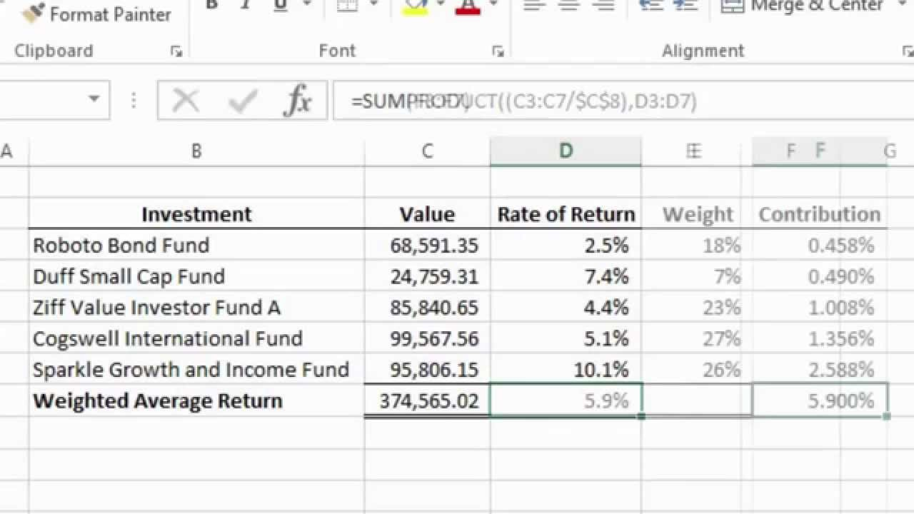 excel 2013 tutorial how to calculate a weighted average