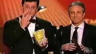 Stephen Colbert and Jon Stewart and Prunes at 2008 Emmys