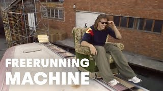 Human-Powered Freerunning Machine - with Jason Paul(For more freerunning, check out http://win.gs/1aXUVRM Performing simple tasks in a complex manner is what the human-powered freerunning machine is all ..., 2012-10-03T22:50:12.000Z)