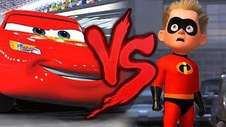 Relâmpago McQueen VS. Flecha | Carros 3 VS. Os Incríveis 2 | Combate de Rimas | Part. Duelista