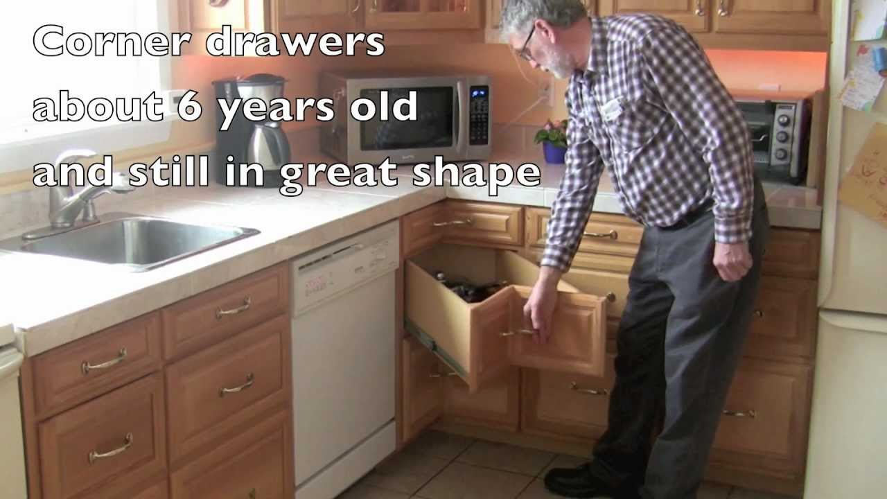 Homemade kitchen corner drawers