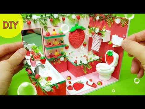 DIY Miniature Dollhouse -  Strawberry bathroom decor !