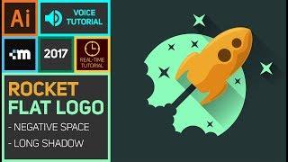 Illustrator Tutorial - Flat Logo Design - Rocket