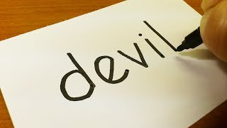Very Easy ! How to turn words DEVIL into a Cartoon for kids -  Drawing doodle art on paper