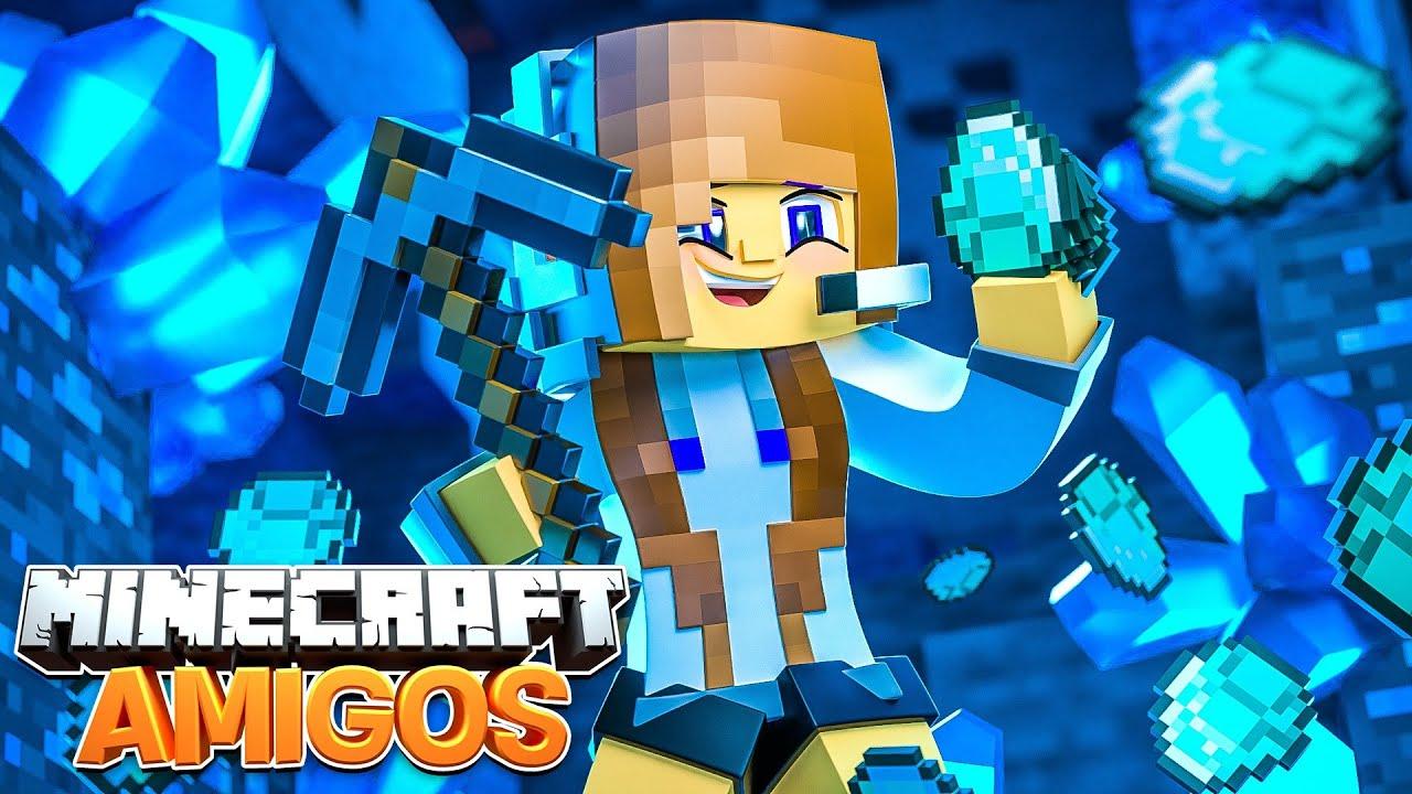 Minecraft AMIGOS - EP 3 | ENCONTREI DIAMANTES!