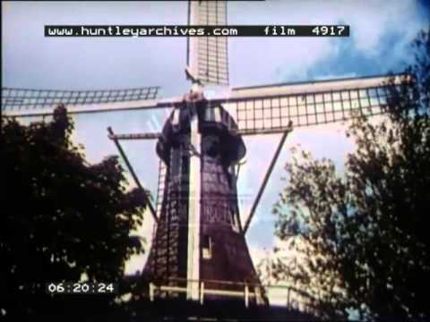 Windmills in Holland or the Netherlands, 1950's - Film 4917