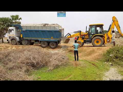 Tata 3118 Bs4 Tipper Stuck Unable To Climb Pushed By Jcb Dozer.