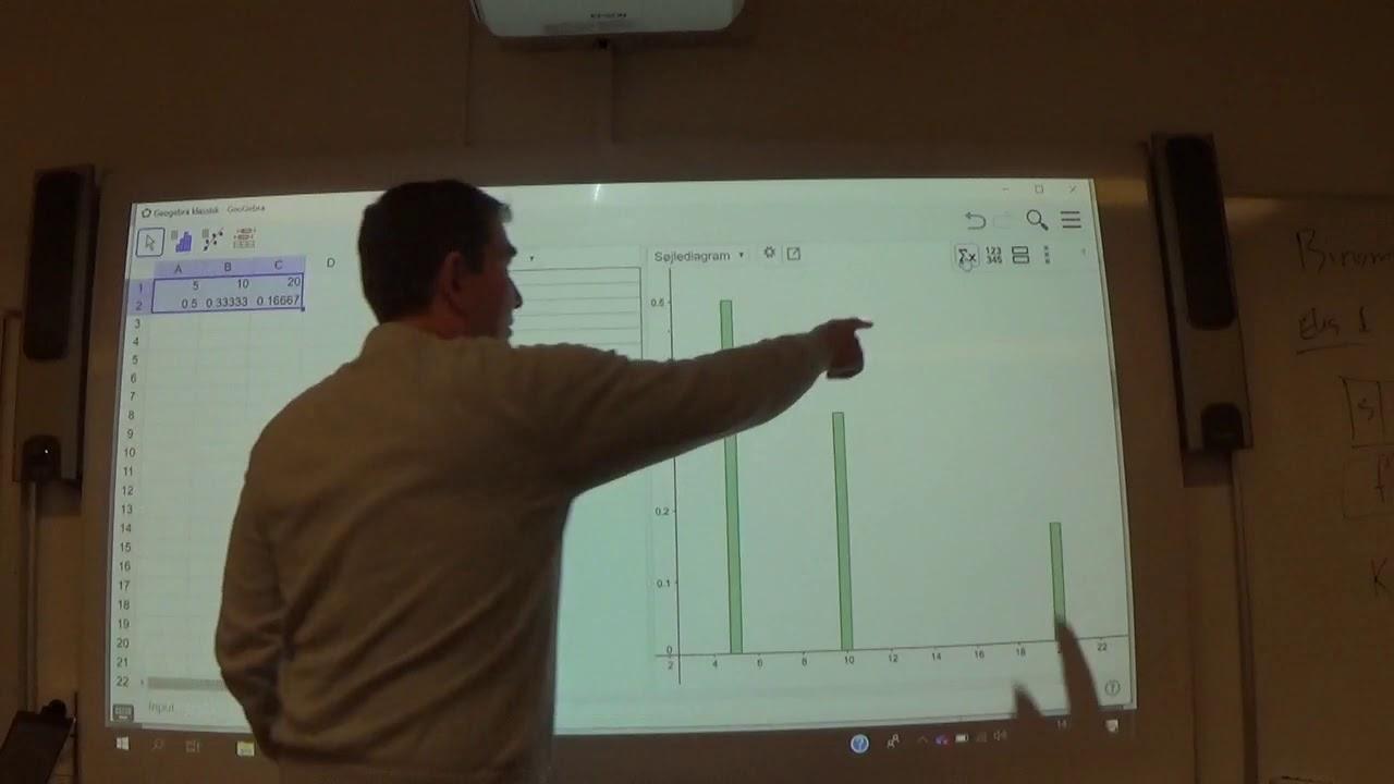Mat B 7.1c Geogebra - Stokastisk variabel: middelværdi og spredning