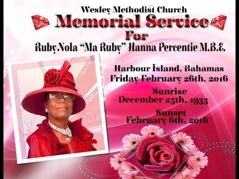 Ma Ruby Percentie Memorial Service