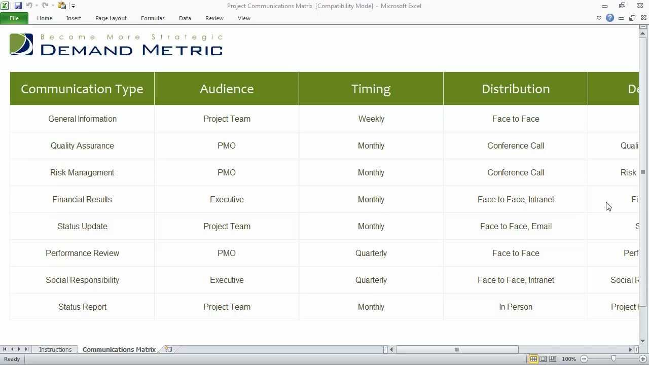 Project communications matrix youtube for Project communication matrix template