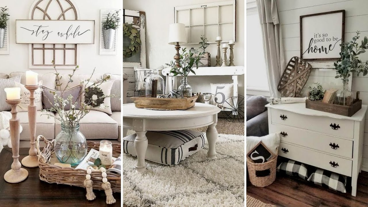 surprising farmhouse style decorating living room | DIY Farmhouse style Living room decor Ideas | Home decor ...