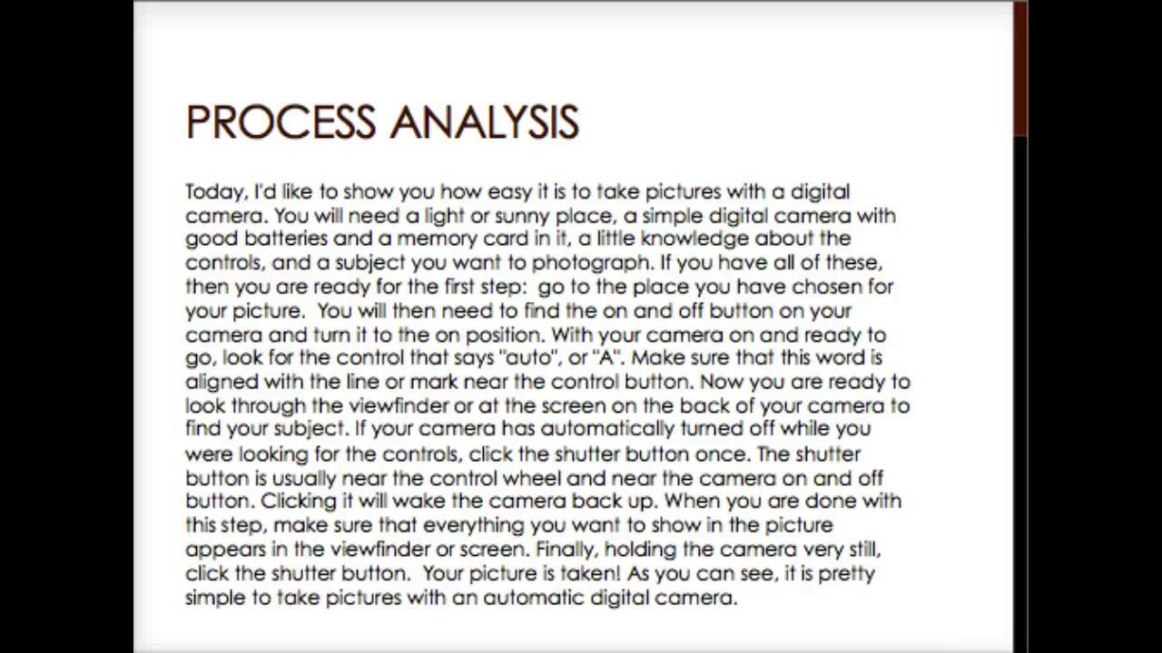 example process and procedure essays standard 6 Standard operating procedure manuals sample d cssu personnel should be aware of the standard procedures film processing procedures 6 digital imaging process 7.