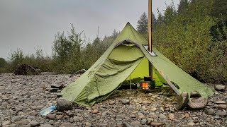 Hot Tent Rain Overnight Backpacking: Down by the River