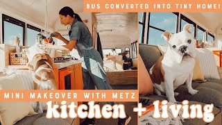 Styling Modern Builds Bus Tiny Home Conversion | Episode 2 DIY Living Room and Kitchen Makeover!