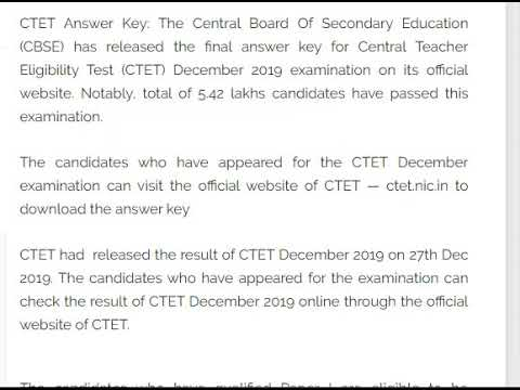 CTET answer key released; Check and Download from ctet.nic.in