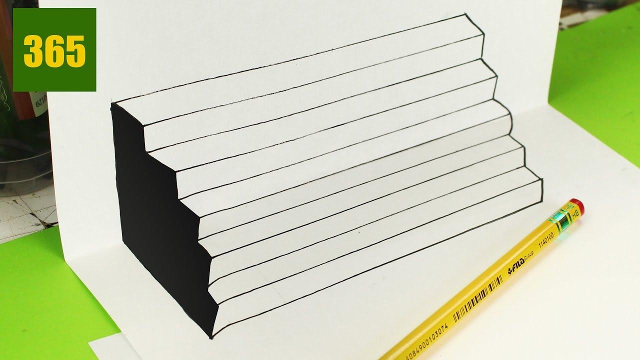 Comment dessiner une illusion d 39 optique chelle 3d tutoriel youtube - Illusion optique dessin ...
