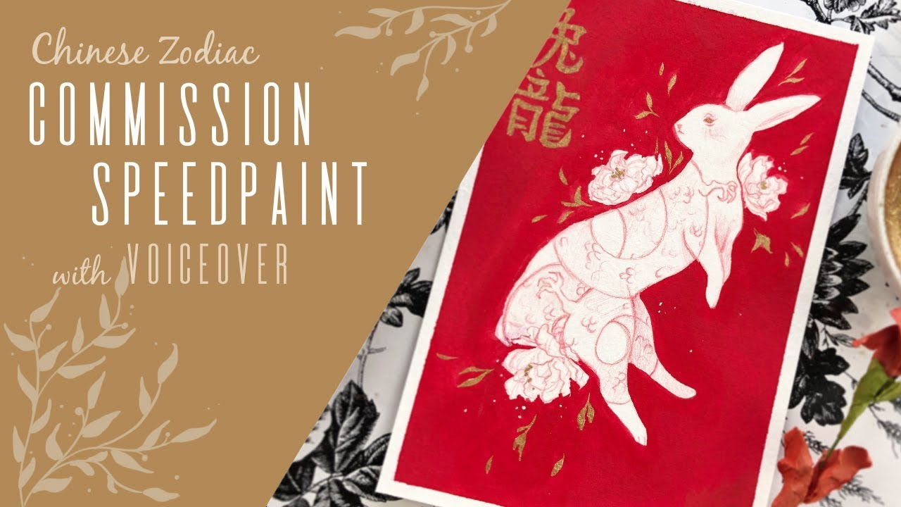 Chinese Zodiac Fire Rabbit + Dragon // SPEEDPAINT w/ VOICEOVER