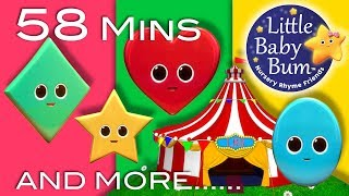 Songs About Shapes | Plus Lots More Nursery Rhymes | 58 Minutes Compilation from LittleBabyBum!