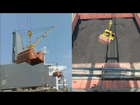 coal unloading || cren operator || Bulk carrier ship