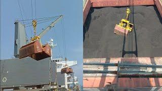 coal unloading || cren operator || Bulk carrier ship