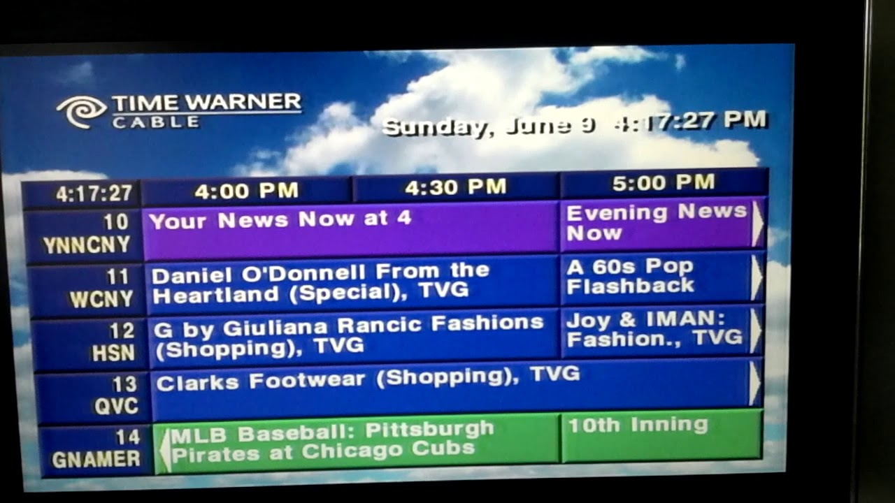 Time warner cable tv guide listings.
