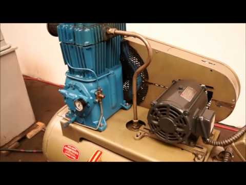 Quincy Air Compressor Model 325 5 Hp Two Stage Youtube